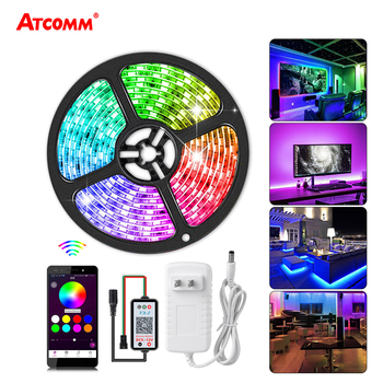 Bluetooth 2811 IC RGB LED Strip Light 5m 5050 12V Pixels Programmable Addressable Diode Tape Backlight Lamp Smartphone Control 5m dc12v ws2811 2811 ic 5050 smd independent addressable rgb led pixels strip 30leds m dream magic color led pixels with control