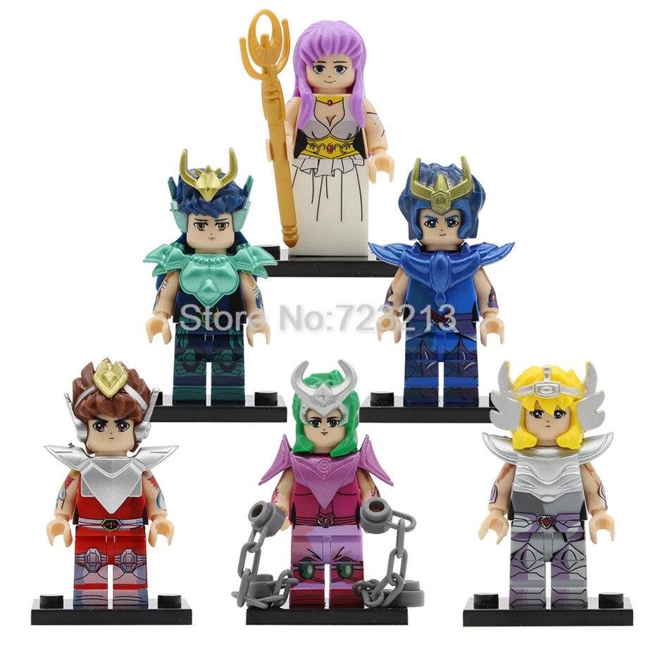 6pcs/lot Cartoon Bronze Saint Seiya Athena Figure Set Saori Kido Ikki Hyoga Shun Building Blocks Sets Models Bricks Toys