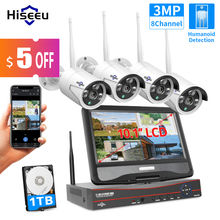 Cctv-System-Set Monitor Nvr Security-Cameras-Kit Outdoor Hiseeu 8ch 1080P Wireless 1536P