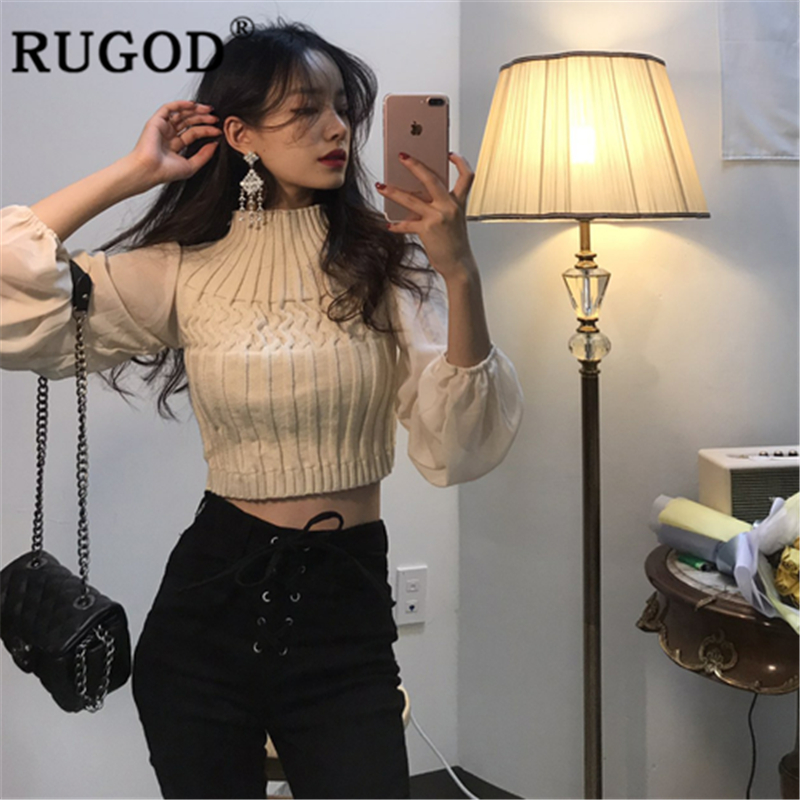 RUGOD Women Patchwork Sweater And Chiffon Pullover Turtleneck Lantern Sleeve High Waist Slim Knit Top 2019 New Fashion Femme Ins