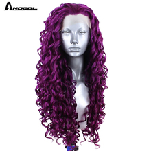 "Anogol 24"" Isla  Deep Purple Long Kinky Curly Free Part Synthetic Lace Front Wig For White Black Women High Temperature Fiber"