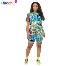 2020 Women Sets Summer Tracksuits Print Sportswear Tops+Shorts Suit Two Piece Set Club Party Street 2 Pcs Sexy Outfits
