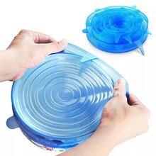 6 шт Мягкая силиконовая крышка Многоразовые Герметичный Еда обертки для сохранения свежести герметичная емкость эластичный Обёрточная бумага крышка кухонная посуда
