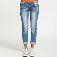 Women's Fashion Low Waist Cotton Distressed Hole Pockets Zipper Shredded Hole Slimming Jean