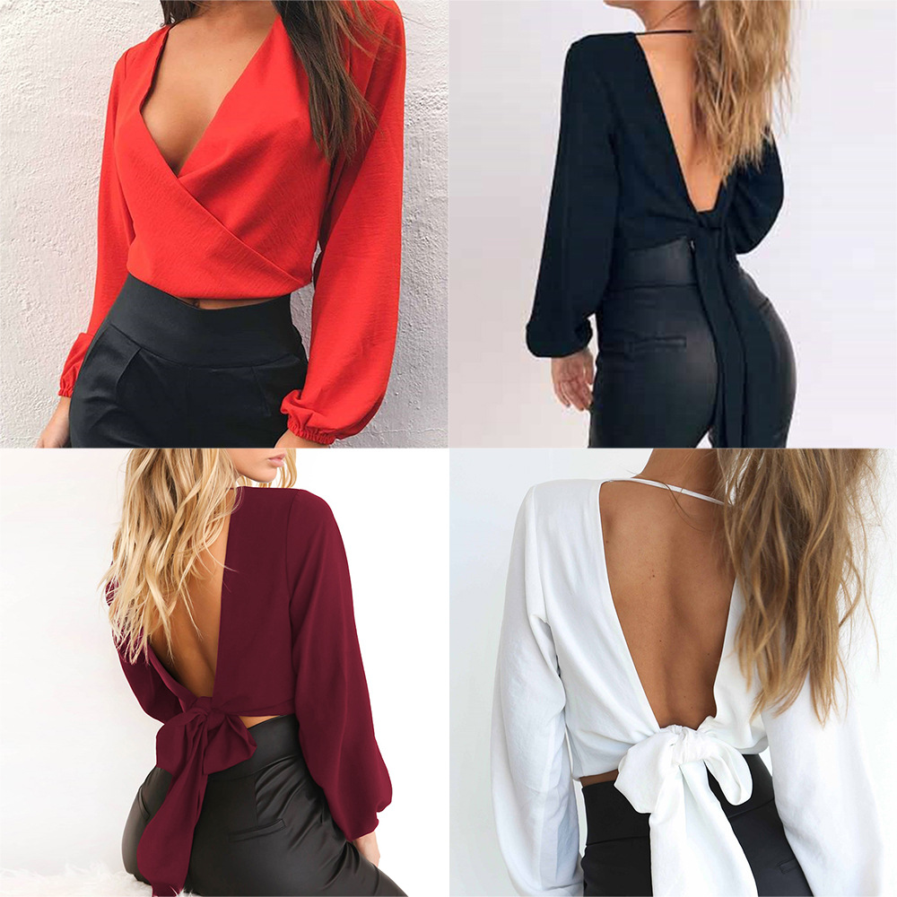 Women Sexy Blouse Deep V-Neck Chiffon Shirt Pullovers Fashion Summer Short Solid Color Backless Slim Fit Top