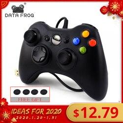 Данных лягушка USB проводной геймпад для Xbox 360/тонкий контроллер для Windows 7/8/10 microsoft ПК контроллер Поддержка для паровой игра