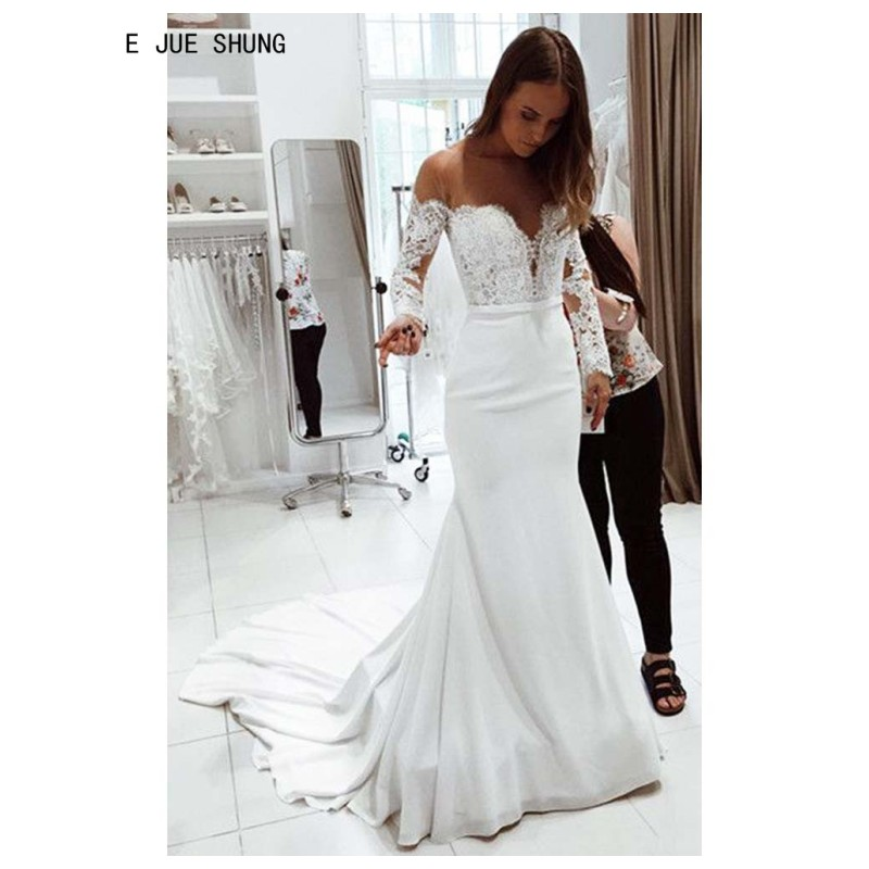 E JUE SHUNG Simple Satin Mermaid Wedding Dresses Sheer O-Neck Long Sleeves Bridal Wedding Gowns Lace Up Back Vestido De Noiva