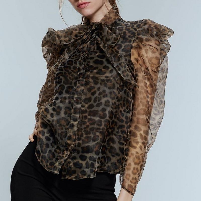 2020 Women Organza Leopard Print Blouse Long Sleeve Animal Pattern Bow Tie Cute Shirts Female See Through Tops Blusas Streetwear