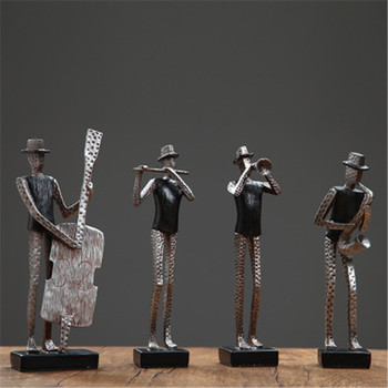 Nordic Abstraction Hand Painting Resin Musician Craftwork Figurines Decoration Living Room TV Cabinet Ornaments X2653