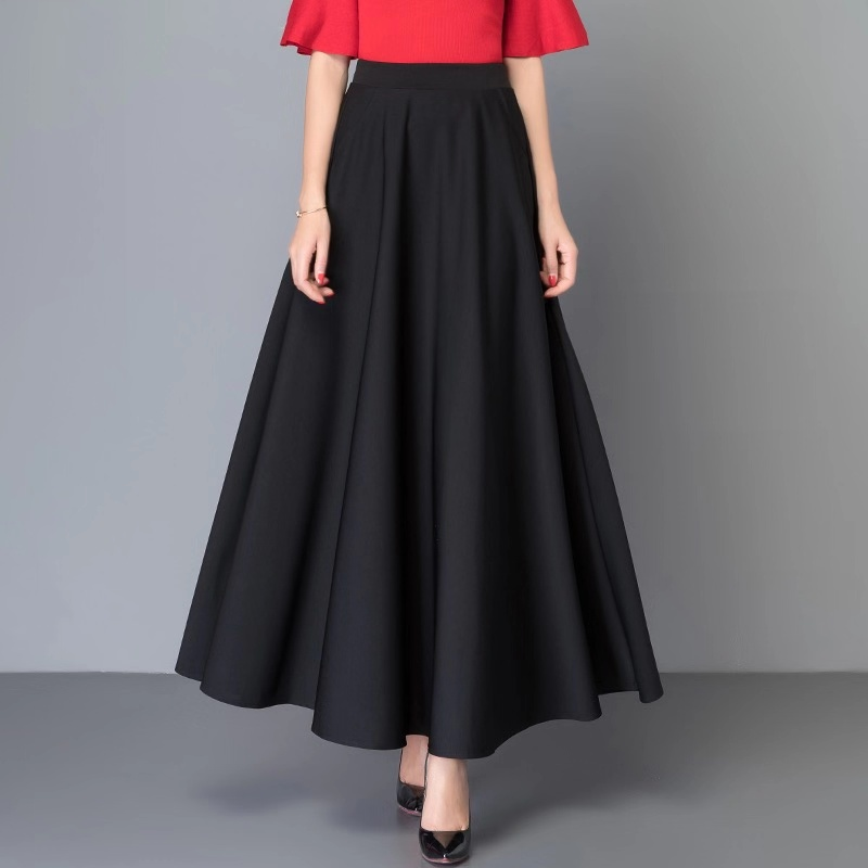 Korean Skirts Womens Elegant Women A-line Skirt Plus Size Woman High-waist Long Skirt Faldas Mujer Moda Lady Solid Midi Skirts