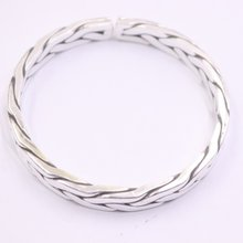 Real 999 Pure Silver Bangle For Women Lucky Girlfriend Best Gift Weave Lucky Open Bangle 58-64mmDia(China)