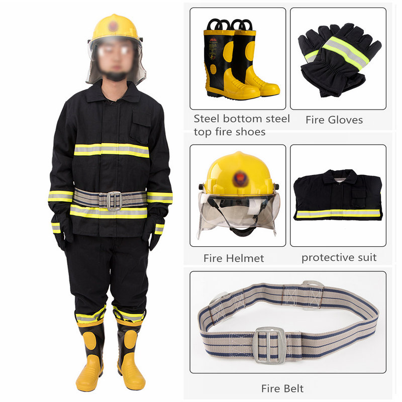 02 Thicken Polyester Cotton Training Fire Clothing Five-piece Set Insulation Fire Retardant Fire Fighting Rescue Suit Sale
