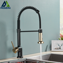 Gold Kitchen Faucet Cold-Water-Mixer Rozin Taps Deck-Mounted Grifo-Pull-Down Rotation