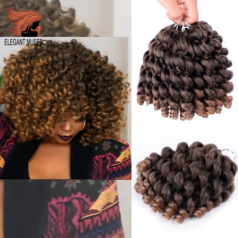 ELEGANT MUSES  8'' Jumpy Wand Curl Jamaican Bounce Synthetic Braiding Hair Extension Crochet Braid Hair For Any Woman