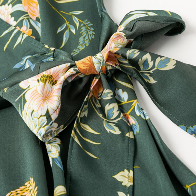 Summer Women Dress Elegant Floral Print Satin Wrap Lady Dress V neck High Waist Sexy Dress Bow Tie Green Casual Female Dresses in Dresses from Women 39 s Clothing