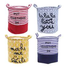 Foldable Washing Laundry Basket Hamper Cotton Linen Clothes Storage Standing Clothing Storage Bucket Laundry Basket Pouch Home(China)