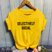 SELECTIVELY SOCIAL Letter Print Yellow T Shirt Women Short Sleeve O Neck Loose Tshirt Summer Women Causal Tee Shirt Tops Clothes