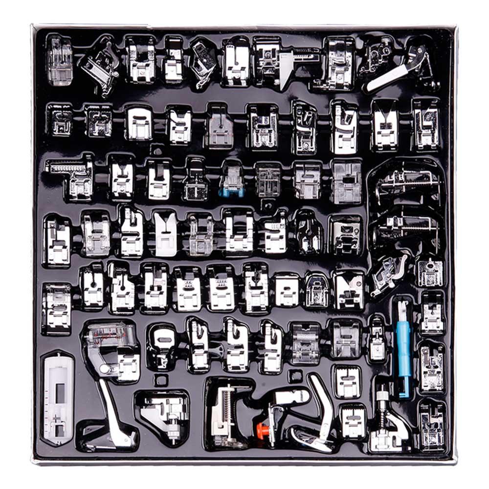 INNE 11-82pcs/Set Sewing Machine Presser Foot Press For Brother Singer Kit Braiding Blind Stitch OverLock Zipper Ruler Parts