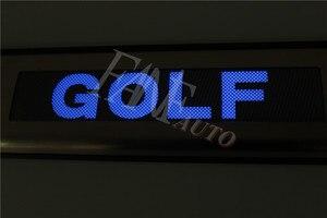 Image 2 - נירוסטה Led דלת אדן שפשוף צלחת משמר אדני מגן Trim עבור פולקסווגן פולקסווגן גולף 6 MK6 גולף R GTI 2008 2012