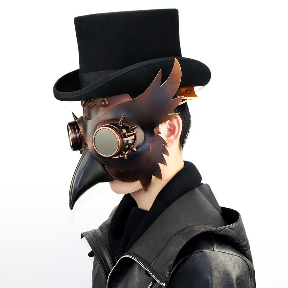 Steampunk Plague Doctor Mask Bird Long Nose Cosplay Fancy Mouth Masks Exclusive Gothic Retro Rock Leather Halloween Costume Mask