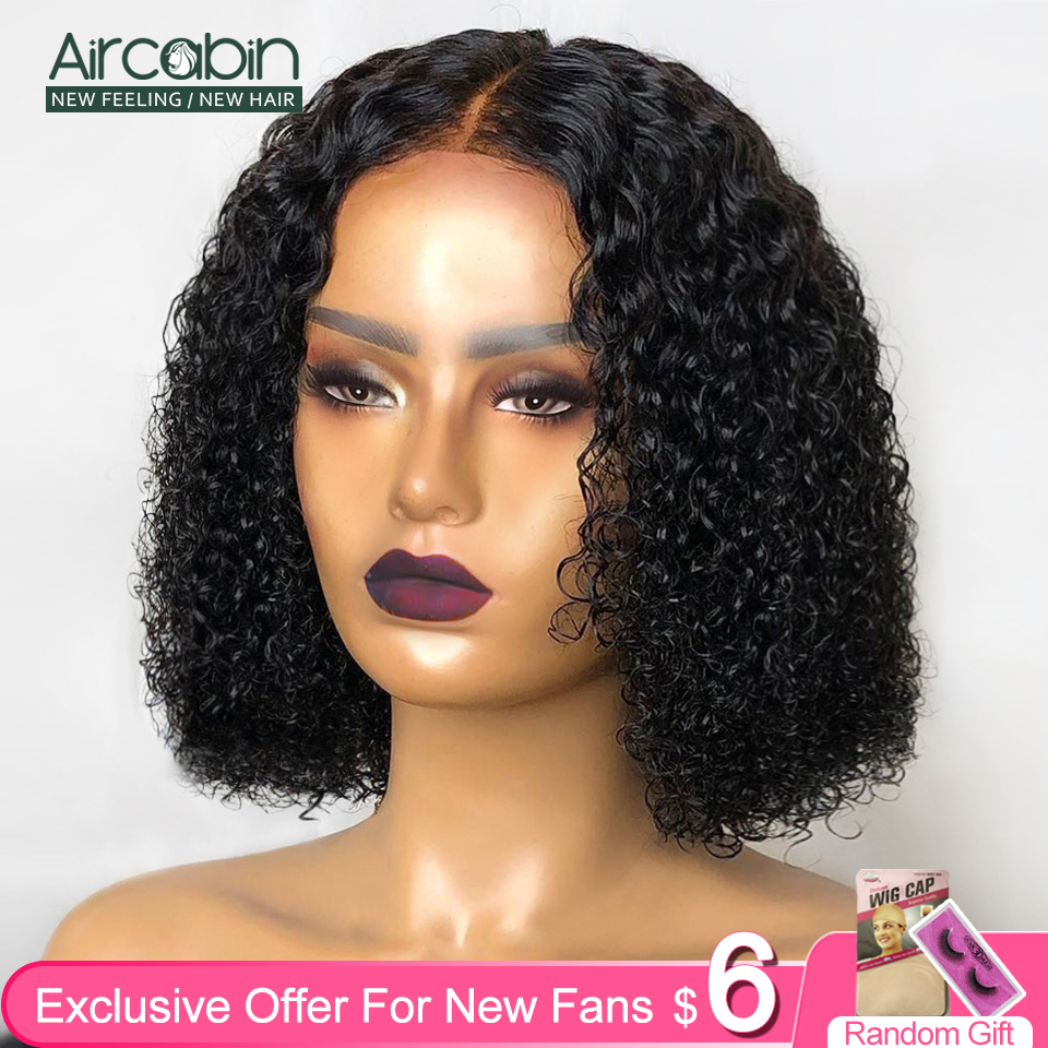 Aircabin Curly Wave 13x6 Lace Front Bob Wigs Human Hair Brazilian Lace Closure Wigs For Black Women 16 Inch 150 Density Non-Remy
