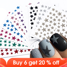1pcs 3D Nail Slider Stars Stickers Glitter Shiny Decoration Decal DIY Transfer Adhesive Colorful Nail Art Tips Manicure JINC132