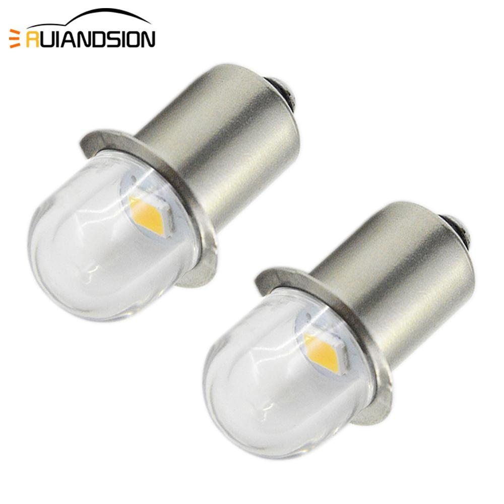 2x P13.5S 3V 6V 0.48W 4300K Warm White 1SMD 2835 LED Interior Bike Work Light Bulb Torch Headlight Mini Head Lamp Flashlight