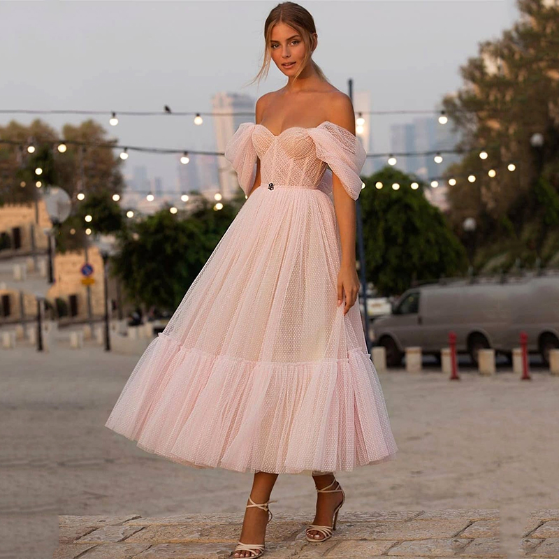 Pink Sweetheart Off The Shoulder Dot Net Cocktail Dress A-Line Tea Length Party Dress Plus Size Graduation Homecoming Gown