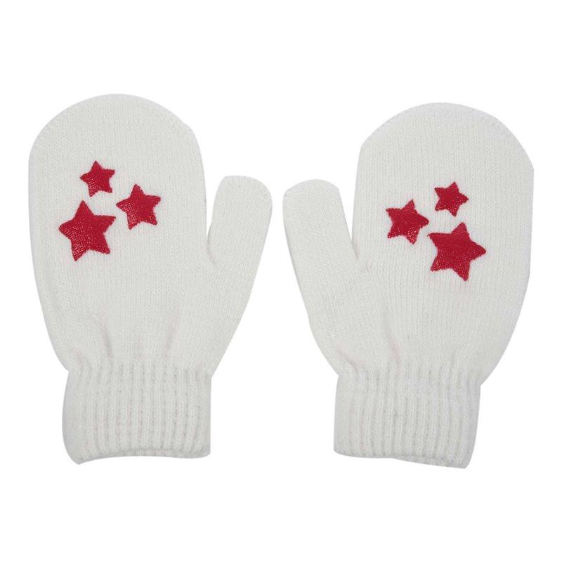 Baby Kids Five-pointed Star Pattern Gloves Boys Girls Winter Warm Knitted Mittens White