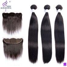 Современные малазийские прямые человеческие волосы, пряди с фронтальной частью, волосы remy для наращивания, 3 пряди, 1 шт