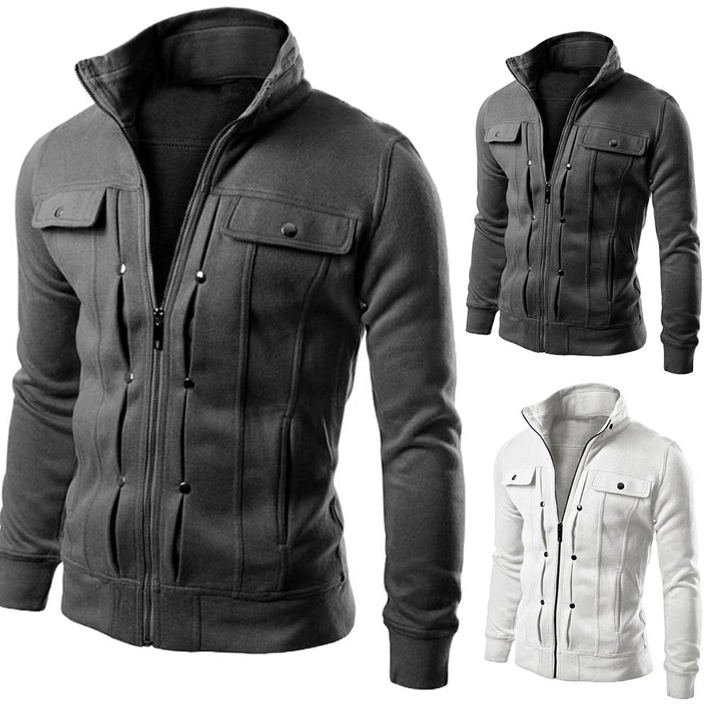 2019 Fashion Men Jackets Coat Autumn Winter Zipper Casual Fleece Coat Bomber Jacket Stand Collar Fashion Male Outwear Windproof