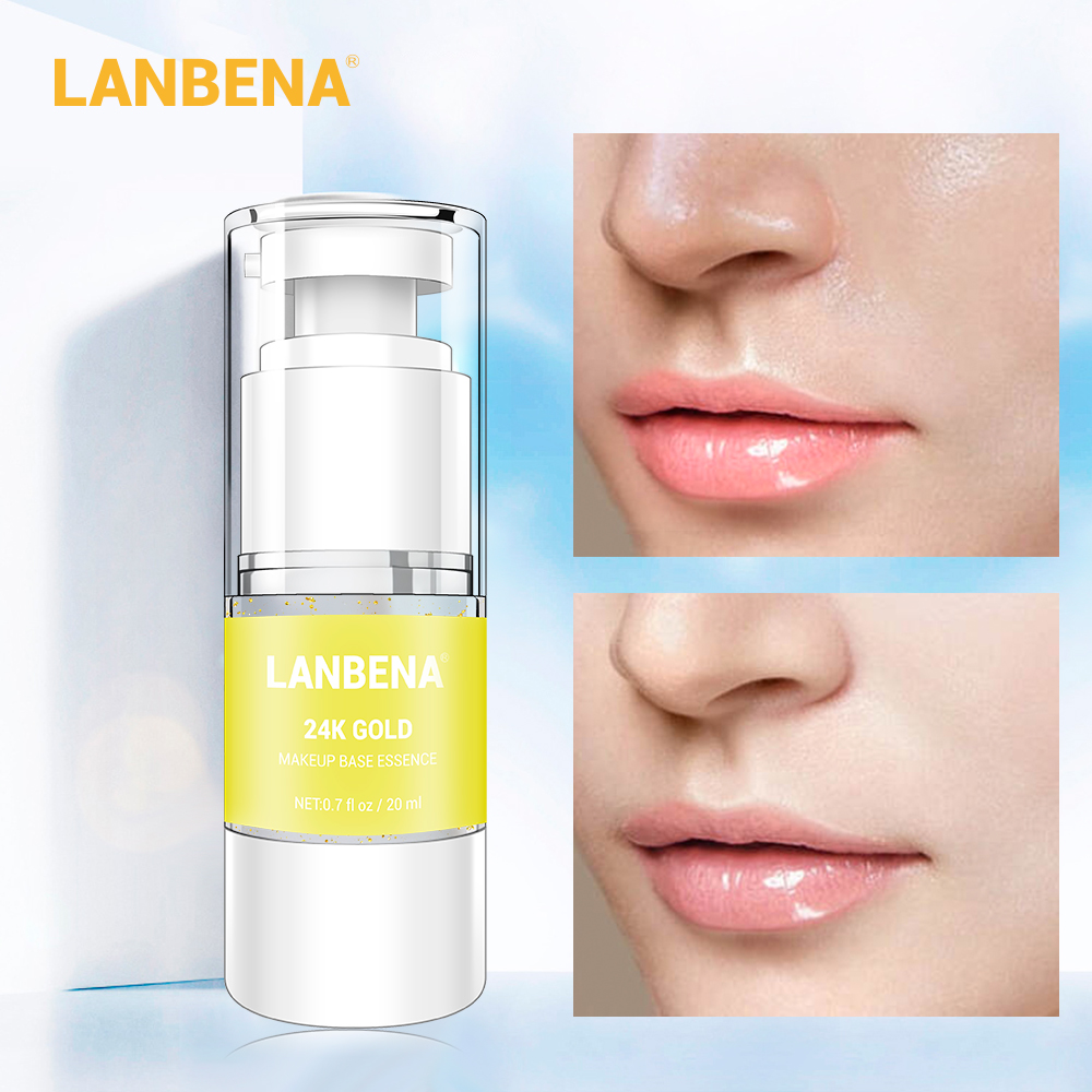 LANBENA Makeup Base Serum 24k Gold Face Serum Facial Care Foundation Face Primer Pore Minimizer Isolate Radiation Whitening Skin