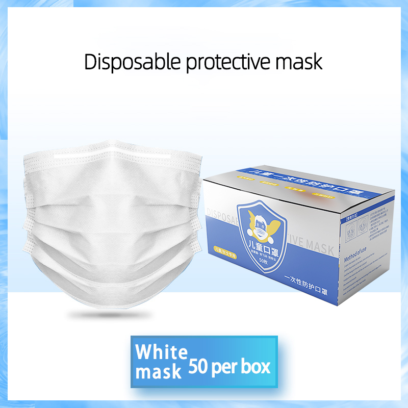 Child 3 Layers Non-woven Mouth Face Mask Prevent Anti-Dust Masks Proof Anti Particulate Matter 50 Pcs In Box
