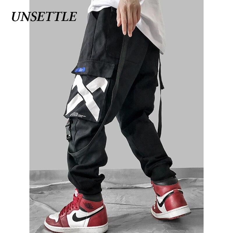 UNSETTLE Mens Multi Pockets Cargo Harem Pants Elastic Waist Male Tatical Trousers Fashion Joggers Casual Streetwear Pants