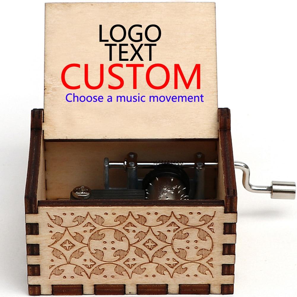 Частный пользовательский резной деревянный пустой музыкальный ящик Тема фильма пользовательский музыкальный блок Рождественский подарок на день рождения деревянный подарок на заказ свадебные подарки