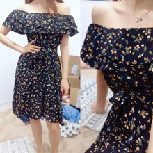 SINGRAIN Women Floral Dress bohemian A-Line slash neck short sleeves dress summer vintage beach off shoulder Polka Dot Sundress