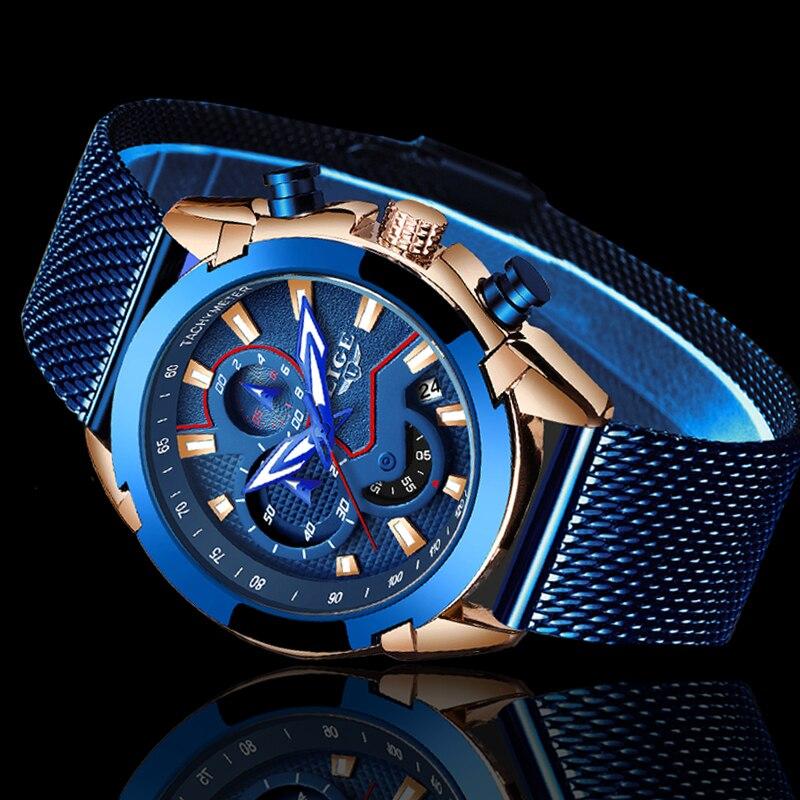 LIGE Mens Watches Top Brand Luxury Waterproof Calendar Quartz Watch Men Classic Sport Chronograph Reloj Hombre