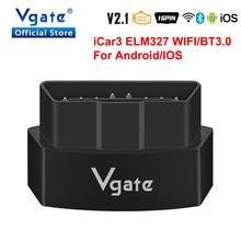 Vgate iCar3 ELM327 wifi 안 드 로이드/IOS ODB2 자동차 진단 스캐너 블루투스 ELM 327 V2.1 OBD OBD2 코드 리더 자동 스캔 도구