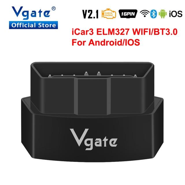 Vgate iCar3 ELM327 wifi dla androida/IOS ODB2 skaner diagnostyczny samochodu Bluetooth ELM 327 V2.1 OBD OBD2 czytnik kodów automatyczne narzędzie skanujące
