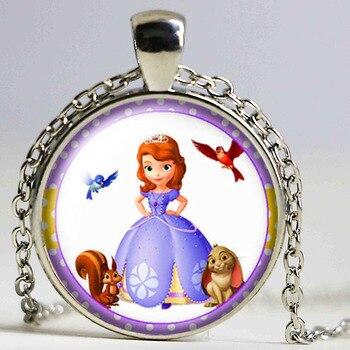 Collar con colgante redondo de Princesa Sofía para niñas, cabujón de cristal de 25mm, joyería para mujer, fiesta de cumpleaños