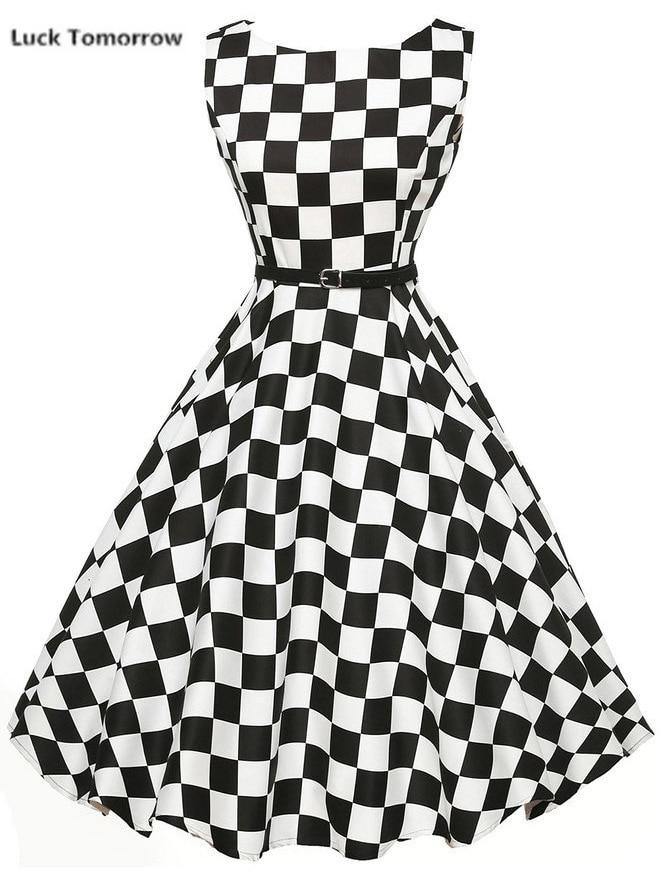 Nowe kobiece eleganckie Vintage Pinup Audrey Hepburn Style 60s Floral suknia Party sukienka Rockabilly kobiety czarny biały Plaid 50S sukienki