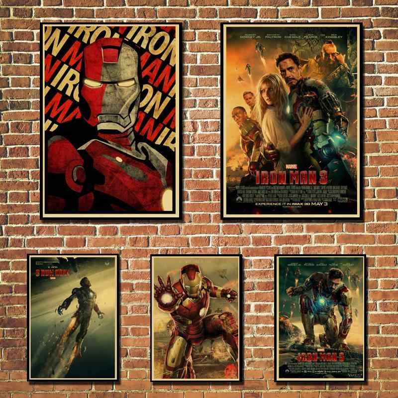 Homem de ferro marvel comics poster de alta qualidade impressão pintura cartaz do vintage papel kraft decoração da parede barra casa