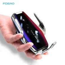 Беспроводное Автомобильное зарядное устройство Qi с автоматическим зажимом, держатель для телефона в машину для iPhone 12, 11, XS, XR, X, 8, Samsung S20, S10, с датчиком и быстрой зарядкой, 15 Вт
