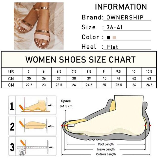 2020 sandalias de mujer planas de verano de Sanke Casual de gran tamaño 41 zapatos de hebilla de tobillo dorado de playa para mujer Calzado cómodo fresco 6
