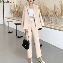 Fashion Korean Women Pant Suit Sets Single Button Blazer And