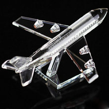 Beautiful Crystal Airplane Model Miniature Glass Plane Aircraft Crafts Office & Home Decoration Christmas Gift