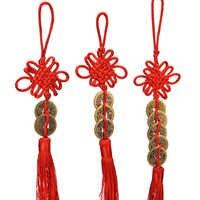 1pc cobre colgante delicado antiguas monedas de cobre rojo nudo chino Feng Shui éxito suerte encanto Casa decoración del coche