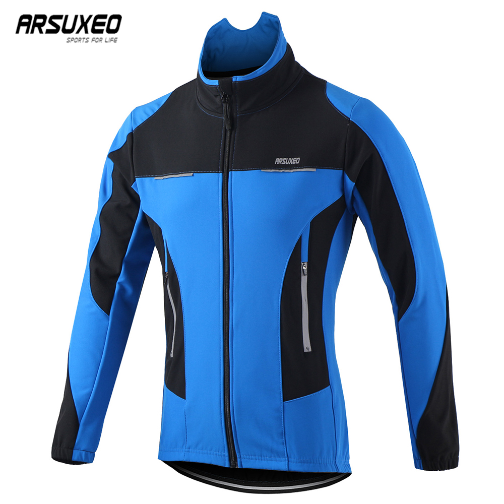 ARSUXEO Men Winter Cycling Jacket Thermal Windproof Waterproof MTB Bike Jacket Sports Softshell Coat Bicycle Clothing Reflective