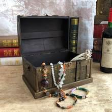 Retro de madeira pirata tesouro caixa de jóias jóias jóias caixa de armazenamento trinket lembrança tesouro sala decorações organizador casa