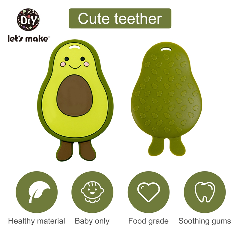 Let's Make 10pcs Baby Teether Silicone Beads Toys BPA Free Food Grade DIY Pacifier Clips Jewelry Avocado Chew Necklace Pendant